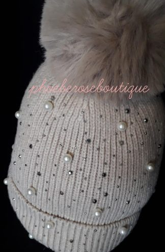 Bead and Sparkly Stud Faux Fur Pom Pom Hat - Beige/mink