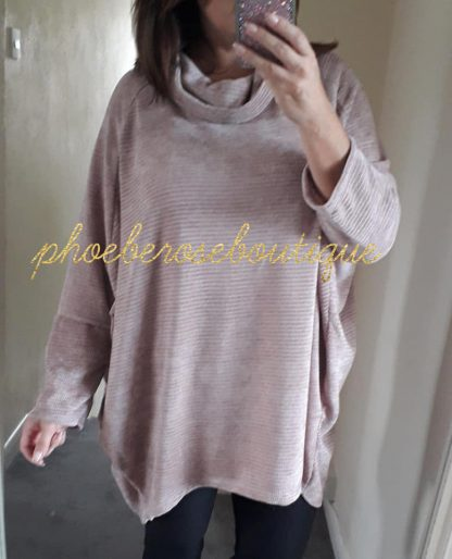 Chenille Oversized Cow Neck Sweatshirt - Soft Pink