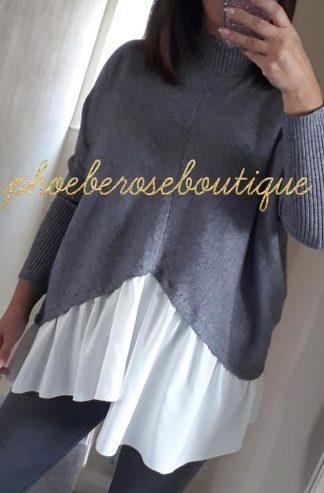 Mock Shirt Soft Knit Jumper - Soft Grey