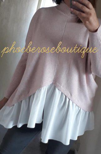 Mock Shirt Soft Knit Jumper - Soft Pink
