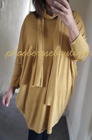 Scarf Soft Jersey Loose Fit Drape Top/Tunic - Mustard