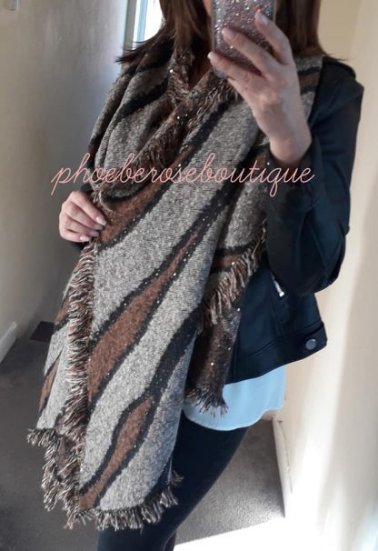 Extra Large Fluffy Soft Animal Stripe Sequin Scarf - Tan Mix