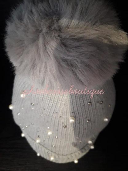 Bead and Sparkly Stud Faux Fur Pom Pom Hat - Soft Grey