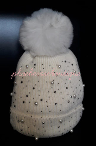 Bead and Sparkly Stud Faux Fur Pom Pom Hat - Cream