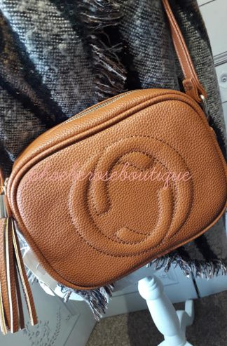 Logo Cross Body Tassle Bag - Tan