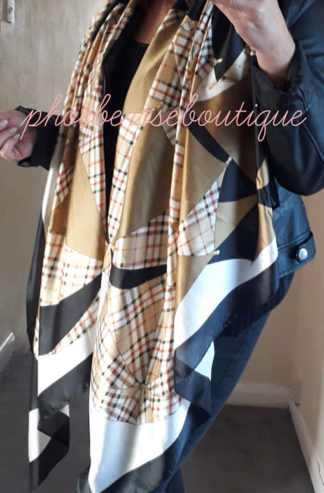 Silky Feel Extra Large umbrella Check Print Scarf