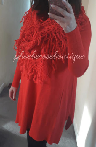 Soft Knit Longline Pocket Tunic/Dress With Matching Scarf - Red