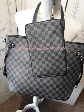 Square Print Tote Bag With Matching Clutch - Black/Grey