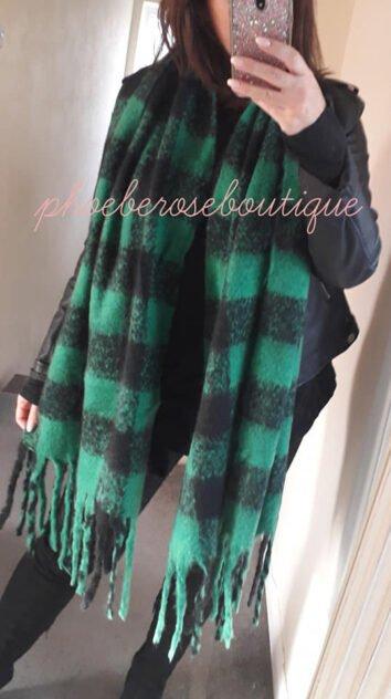 Supersize Soft Blanket Scarf - Black/Bright Green Check