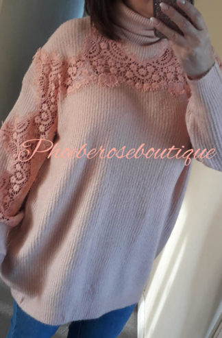 Lux Super Soft Ribbed Lace Sleeve Jumper/Tunic - Soft Pink