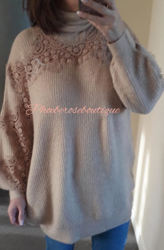 Lux Super Soft Ribbed Lace Sleeve Jumper/Tunic - Caramel