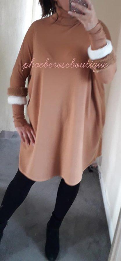 Faux Fur Sleeve Loose Fit Tunic/Dress - Camel