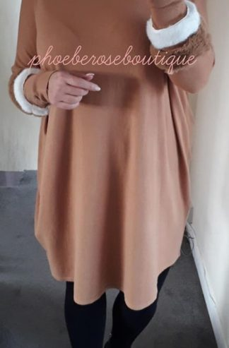 Faux Fur Sleeve Loose Fit Tunic/Dress - Camel