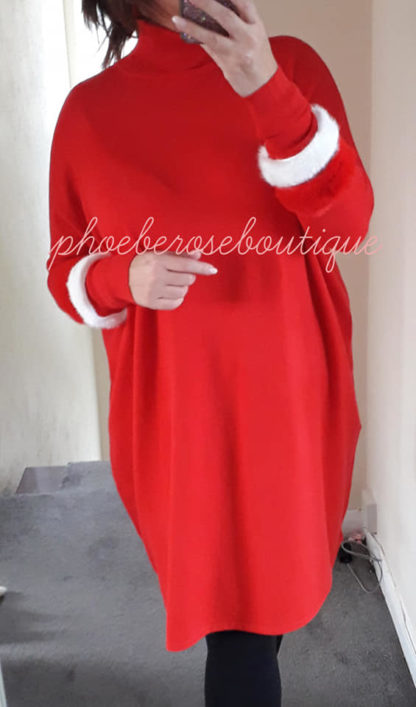 Faux Fur Sleeve Loose Fit Tunic/Dress - Red