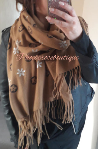 Logo Supersoft Glitter Print Large Fringe Scarf - Tan