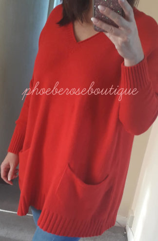 Lux Supersoft Knit Oversized Slouch Pocket Jumper - Red