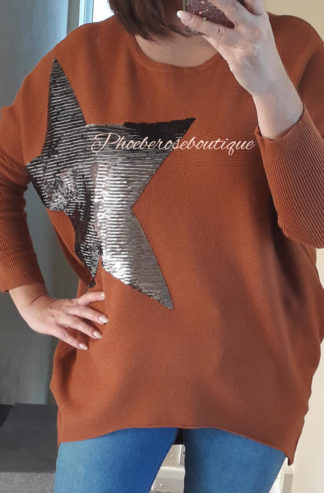 Soft Ribbed Sequin Star Statement Jumper - Rust
