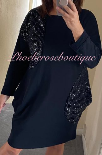 Sequin Detail Sweat Pocket Dress/Tunic - Black
