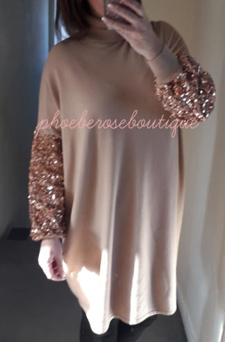 Sequin Statement Sleeve Soft Knit Jumper Dress/Tunic - Camel/Rose Gold