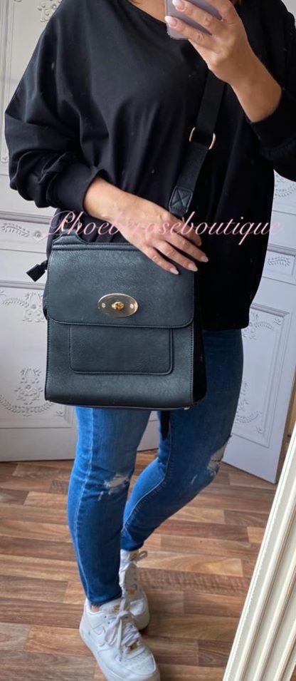 Cross Body Messenger Style Bag - Black