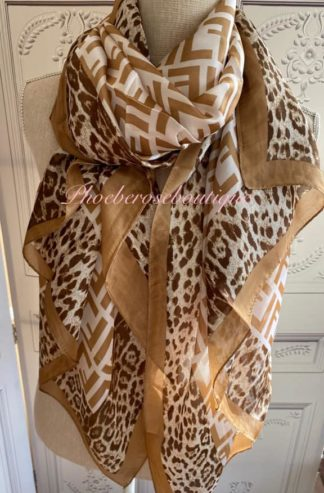 Silky Feel Extra Large Lepo and Logo Print Scarf - Beige