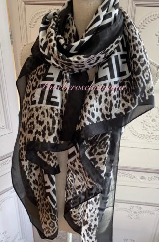 Silky Feel Extra Large Lepo and Logo Print Scarf - Black