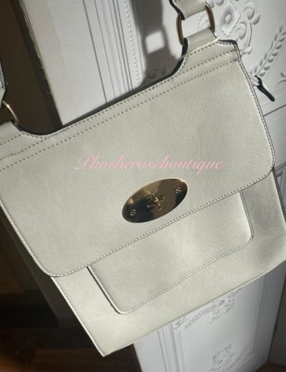 Cross Body Messenger Style Bag - Oyster