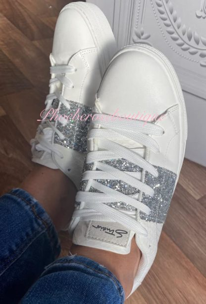 Glitter Panel Leather Look Trainers - White/Silver