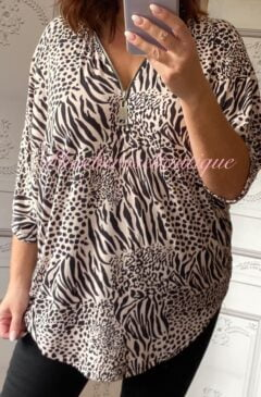 Animal Print Super Soft Jersey Zip Top - Soft Pink