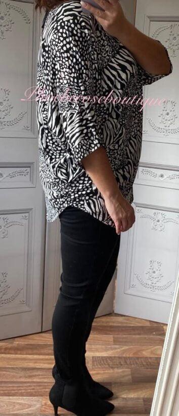Animal Print Super Soft Jersey Zip Top - White