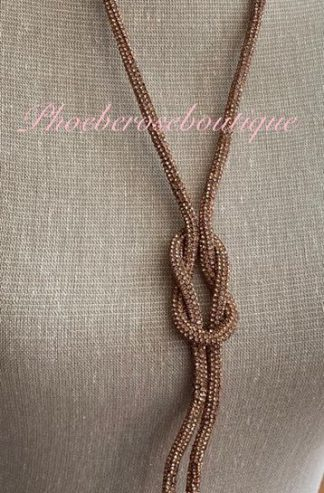 Sparkly Diamante Knot Long Necklace - Rose Gold