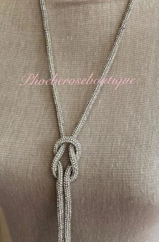 Sparkly Diamante Knot Long Necklace - Clear Silver Crystal