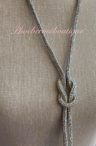 Sparkly Diamante Knot Long Necklace - AB (multi) Crystal