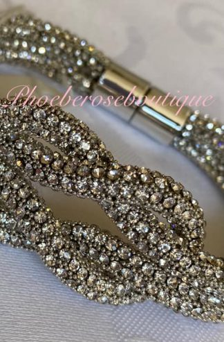 Sparkly Diamante Knot Bracelet - Clear Crystal