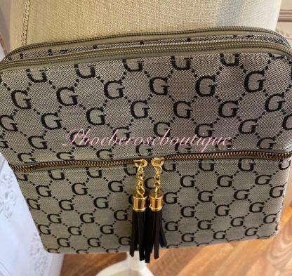 Crossbody Tassle and Zip Bag - Grey