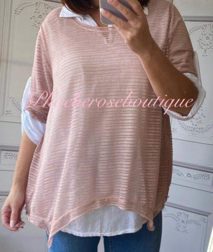 2 Part Shirt Open Back Contrast Top - Soft Pink