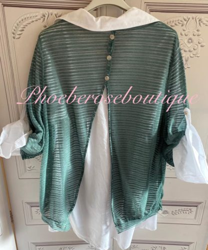2 Part Shirt Open Back Contrast Top - Green