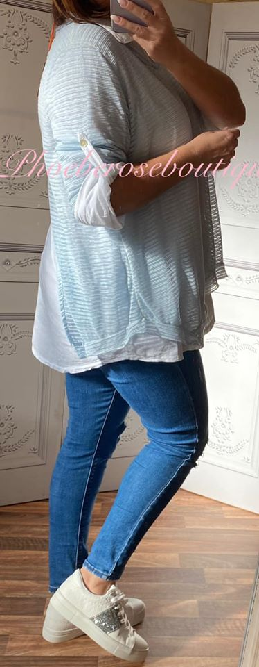 2 Part Shirt Open Back Contrast Top - Baby Blue