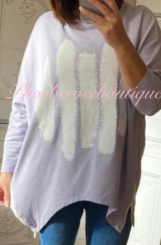 Paint Splash Zip Side Sweat Shirt - Lilac