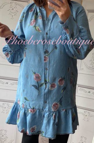 Floral Denim Frill Hem Shirt Dress