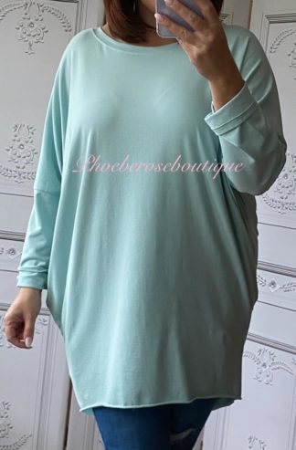 Stretch Jersey Long Sleeve Pocket Tunic Top - Aqua