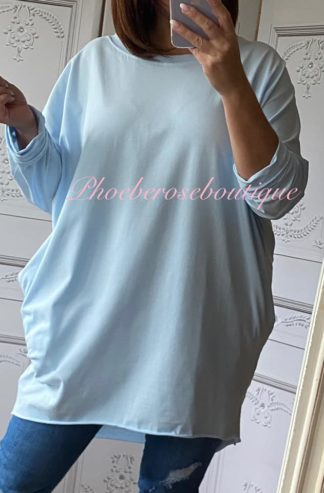 Stretch Jersey Long Sleeve Pocket Tunic Top - Baby Blue
