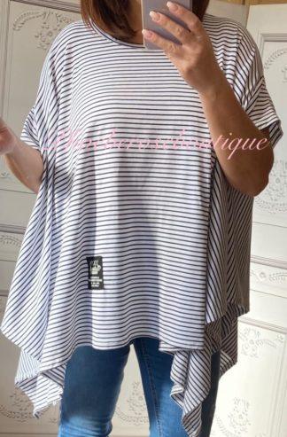Oversized Cotton Stripe Drape S/Sleeve Top - Navy/White