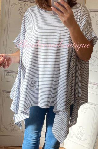 Oversized Cotton Stripe Drape S/Sleeve Top - Sky Blue
