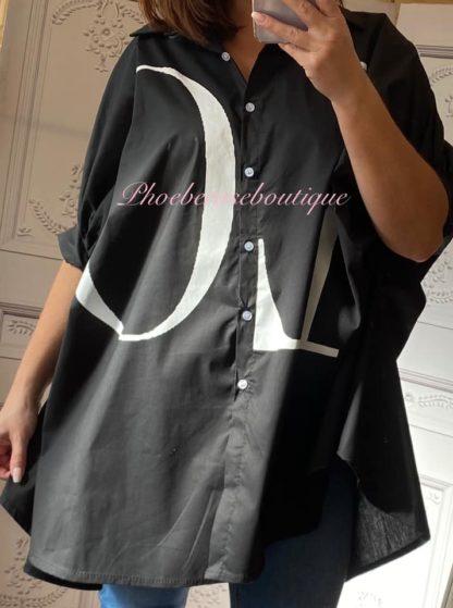 LOVE Oversized Loose Fit Logo Cocoon Shirt - Black