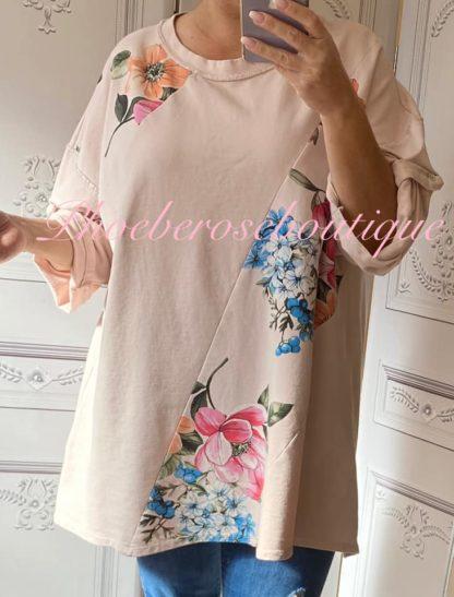 Floral Print Oversized Glitter Thread Sweat Top - Soft Pink