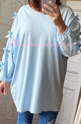 Loose Fit Satin Bow Sleeve Top - Baby Blue