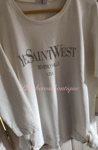 Logo 'Yesaintlove' Sweat Zip Hem Loose Fit Top - White
