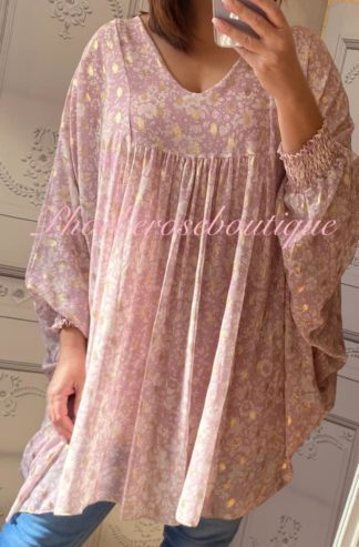 Lux Metallic Thread Floral Chiffon Loose Fit Bat-Wing Tunic/Dress- Soft Pink