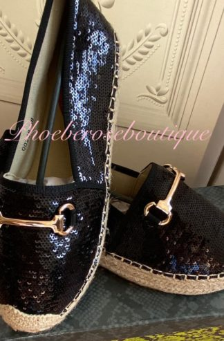 Sequin Chunky Espadrille Style Shoe- Black